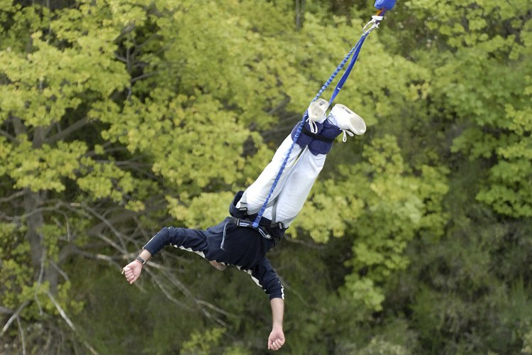 Bungee jumping in the Blue Ridge Mountains.