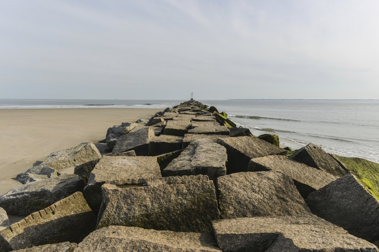 A large stone jetty in the Rockaways.