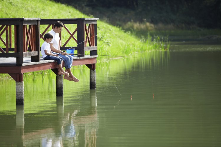A father and son fishing in a pond.
