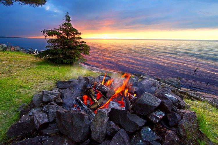 Campfire overlooking Lake Michigan.
