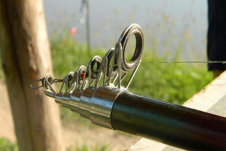 A swivel on the line at the tip of a fishing pole.