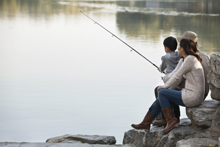 People are fishing at the edge of the water.