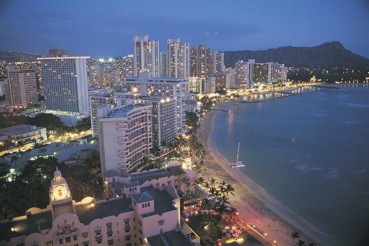 View of Waikiki at night.