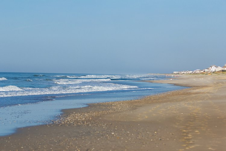 Emerald Isle beach and ocean view in the morning in North Carolina.