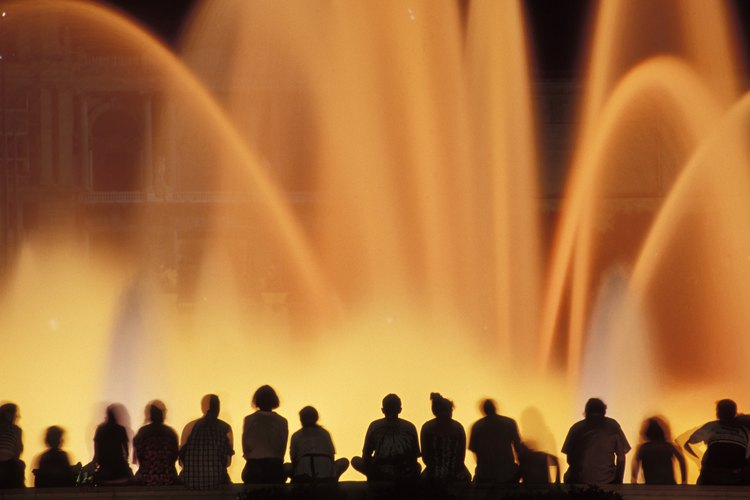 Crowds watch the water light show at the Bellagio in Las Vegas