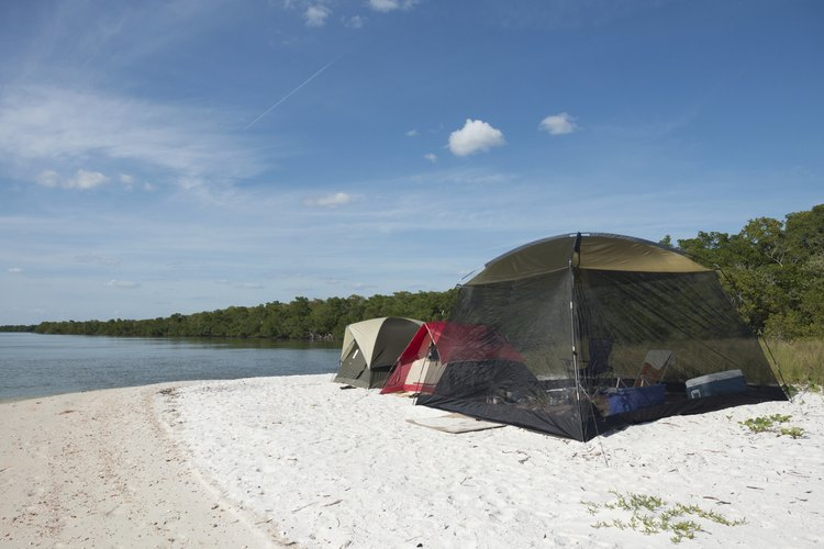 Tents on the beach in the Everglades.
