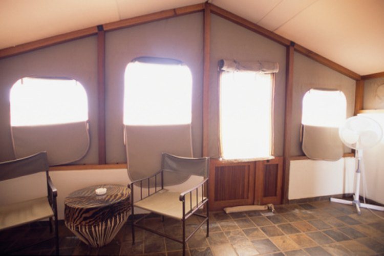 Safari tents provide temporary shelter for vacationers.