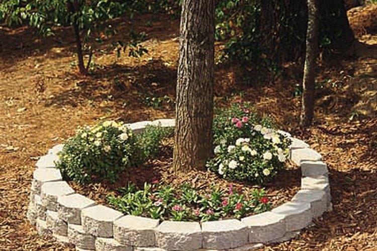 Construyendo una jardinera exterior circular de ladrillo.