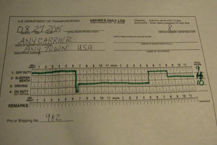 Página de ejemplo de un cuaderno de registro.