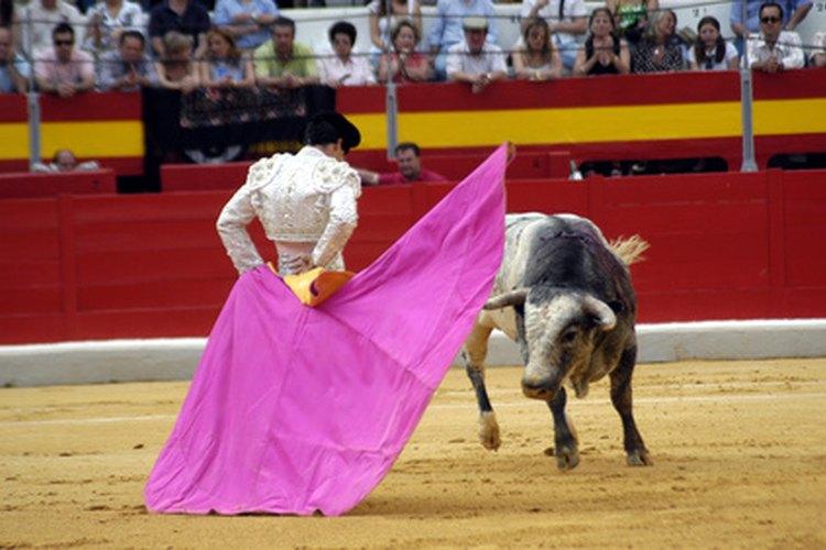 Los matadores usan trajes de colores fuertes para torear.