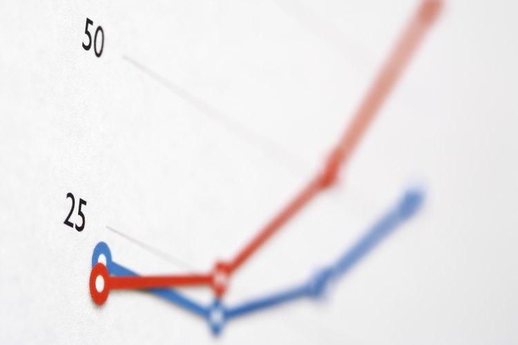 Líneas de un gráfico que muestran el incremento de población.