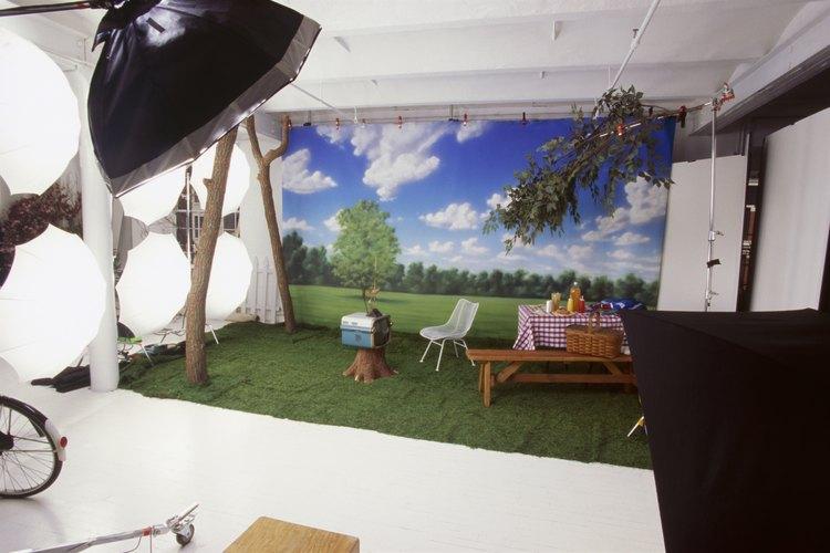 Una configuración fotográfica en un estudio para una publicidad.