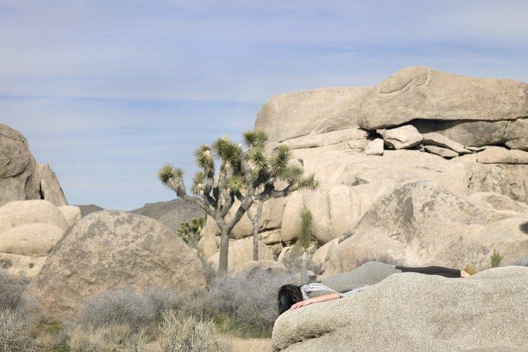 Campamento a la sombra de rocas del desierto en la Indian Cove.