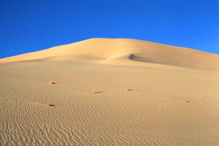 La erosión del viento transporta las partículas para crear dunas de arena.