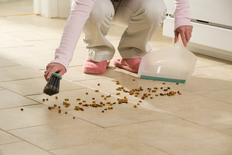 Mujer limpiando el piso.