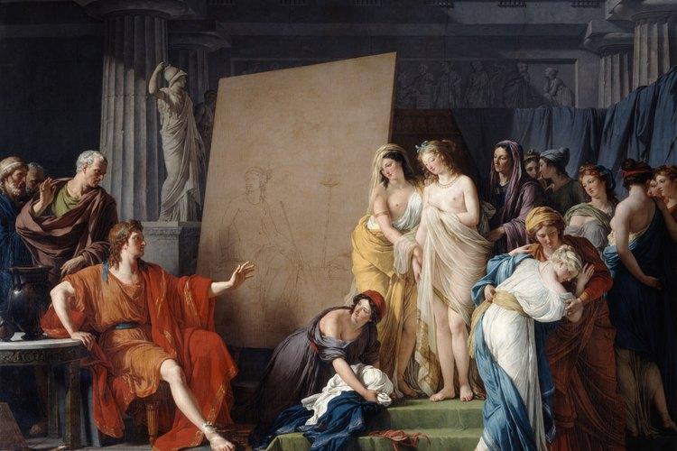 La sencillez de la prenda griega en la antigüedad se puede apreciar en esta pintura que representa al dios Zeus.