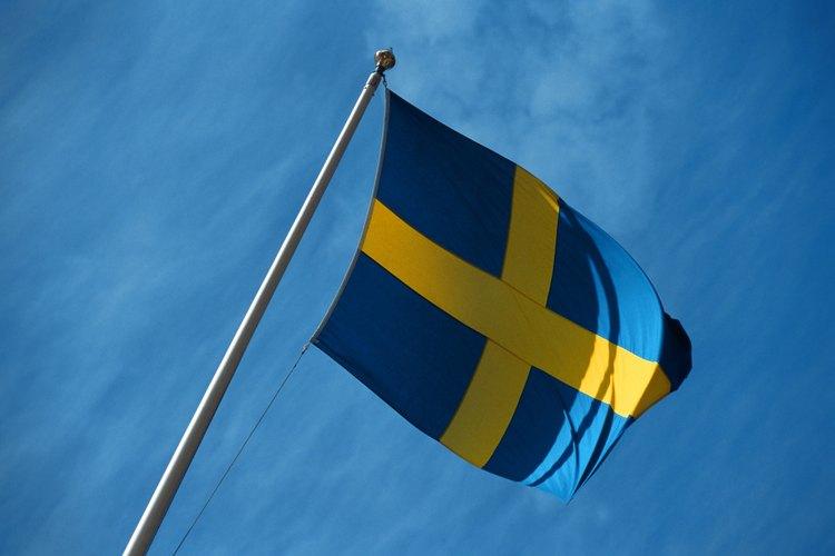 Un diseño azul con amarillo para una bandera es sencillo y efectivo.