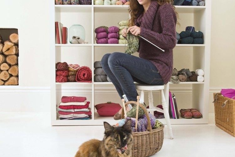 Cuelga la estantería y deja espacio suficiente para que tu gato pueda pueda subir al estante superior.