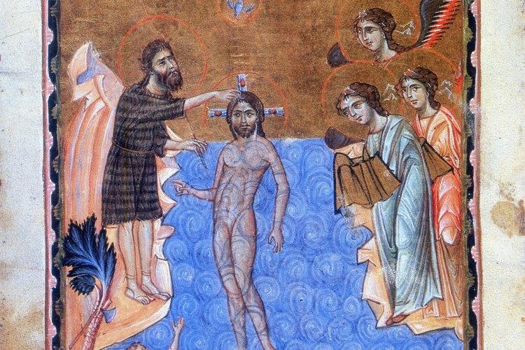 Este ejemplo de arte cristiano primitivo representa el bautismo de Cristo.