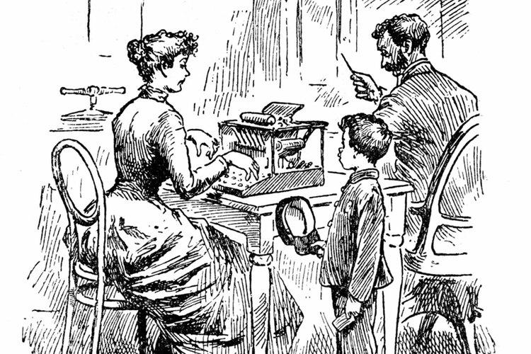Con la invención de la máquina de escribir, muchas mujeres empezaron a trabajar como escribientes.