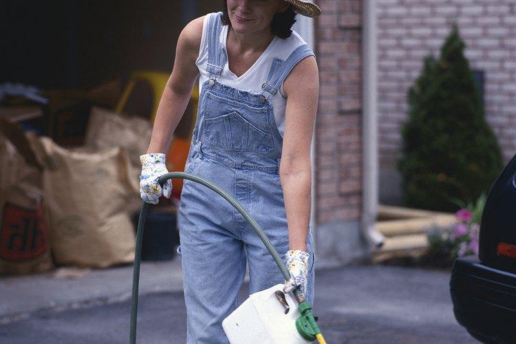 Utiliza un fertilizante de nitrógeno o de metal para ayudar a que tu césped se vuelva verde.