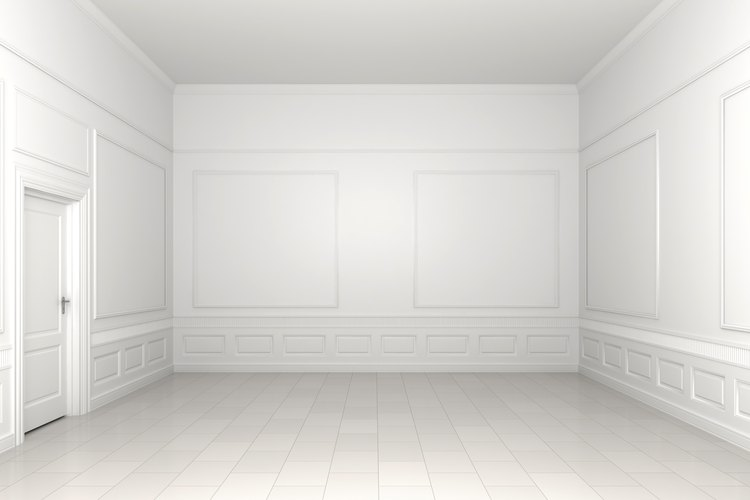 La sala 3D con zócalos y paredes blancas.