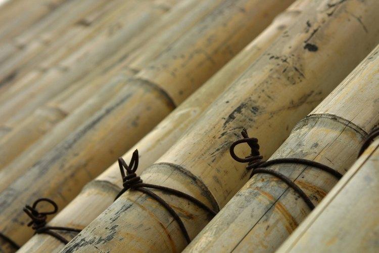 Coloca los palos de bambú espaciados de tal manera que haya de 4 a 6 pulgadas (10,1 a 15,2 cm) entre ellos.