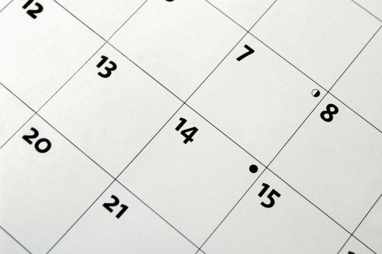 Si tus eventos ocurren a lo largo de varios meses, asegúrate de tener un calendario cerca.