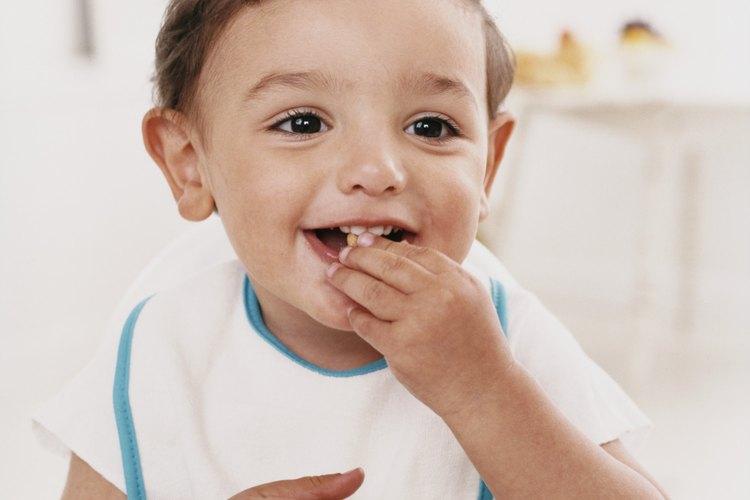 Trata de darle a tu bebé granos que sean fáciles de engomar sin usar los dientes.