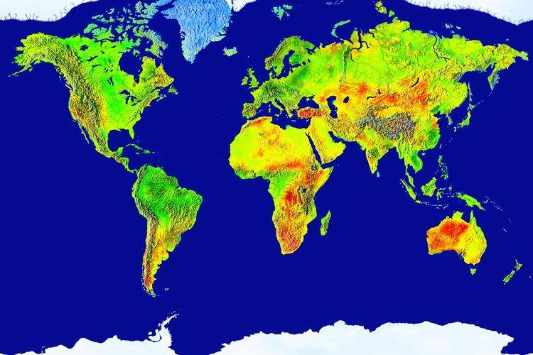 Mapa del mundo con zonas climáticas señaladas en distintos colores.