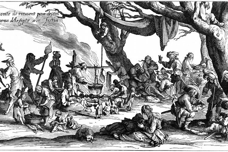 Un campamento de Romani en Europa.