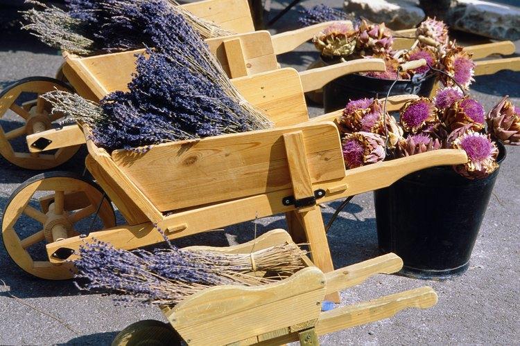 Pon flores frescas o secas en tu carretilla de jardín.