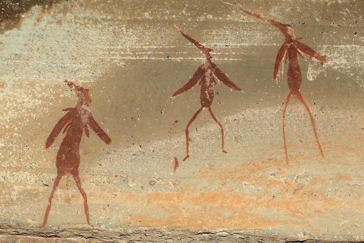Una pintura en una roca de un bosquimano africano.