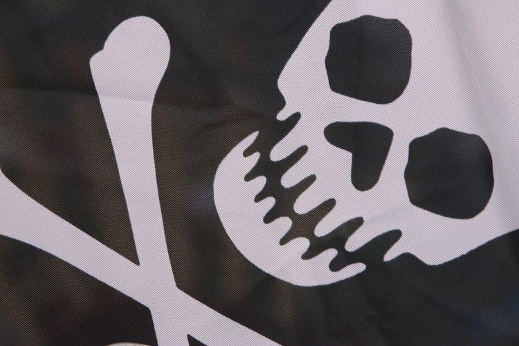 La bandera pirata posee una calavera sobre un fondo negro o rojo y dos huesos cruzados por debajo.