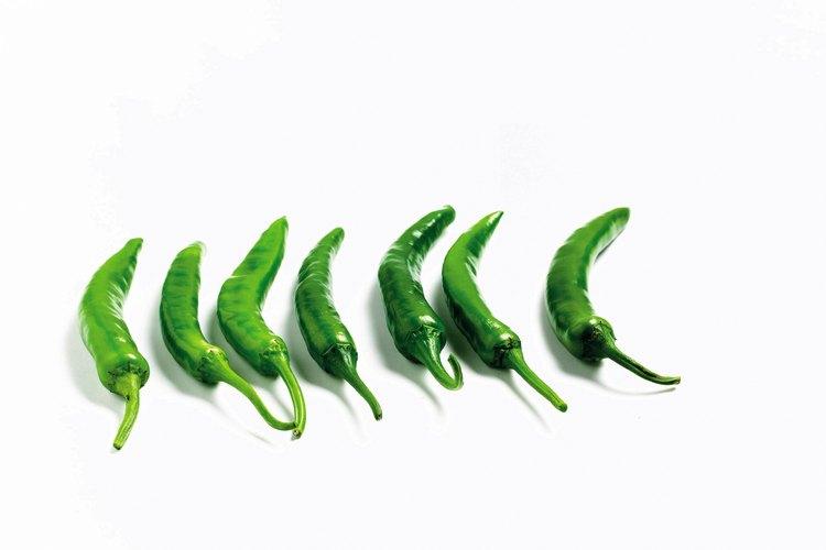 Los pimientos verdes, largos y delgados es probable que piquen.