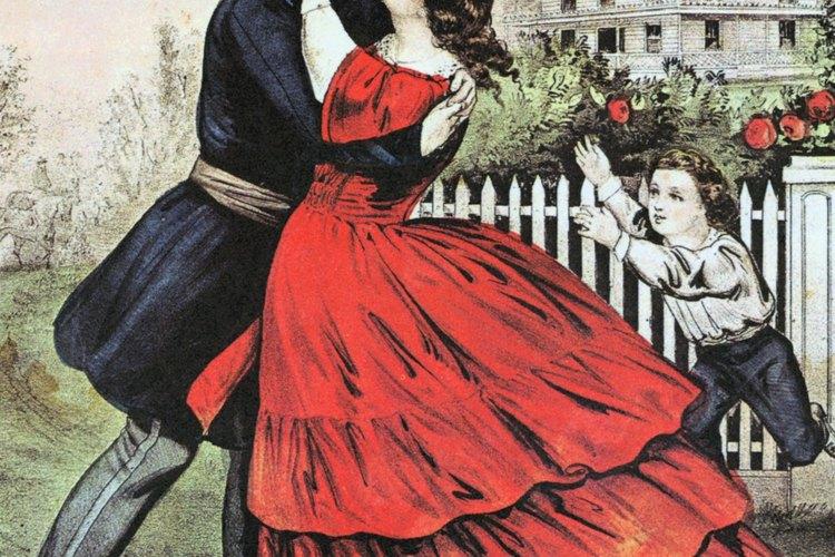 Los vestidos de noche eran elaborados en los años 1860 en Estados Unidos.