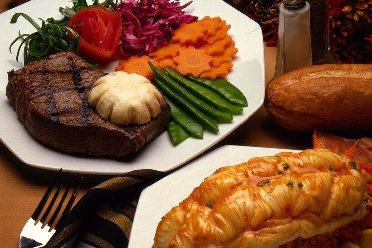 El filete y la langosta cocidos se reducen sustancialmente.