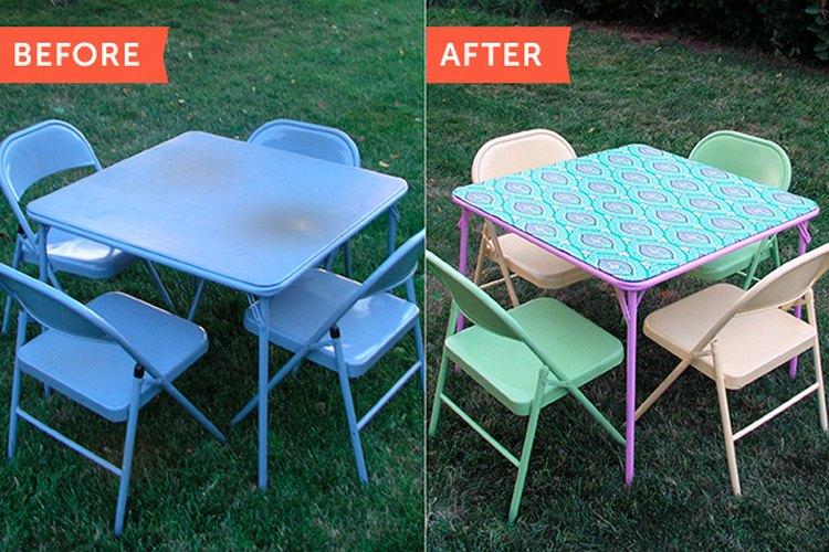 Antes y después: ¡La mesa y las sillas listas para una fiesta en el jardín!
