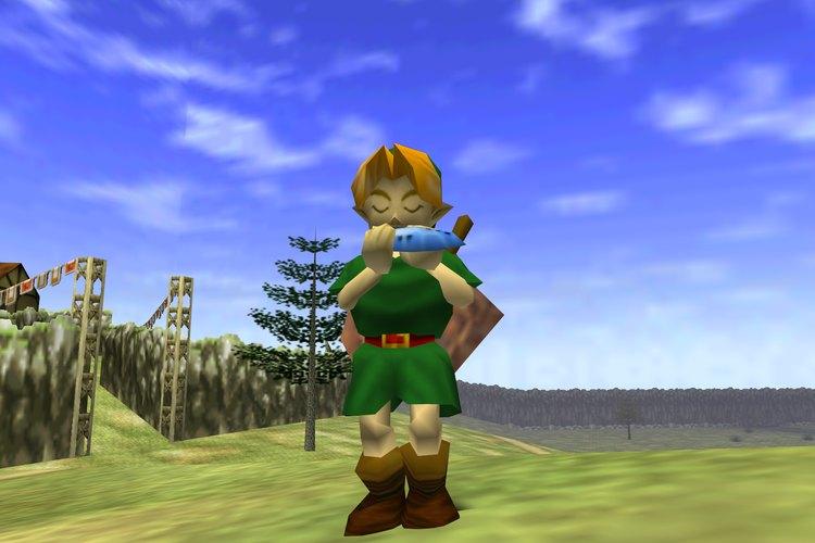 Link tocando el instrumento musical que le permite viajar en el tiempo dentro del videojuego