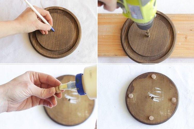 Perfora la base de madera de tu lampara
