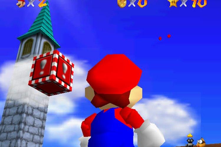 Mario mirando hacía arriba en una secuencia del juego para Nintendo 64