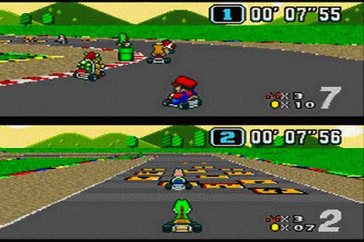 Imagen de la pantalla multijugador de Super Mario Kart