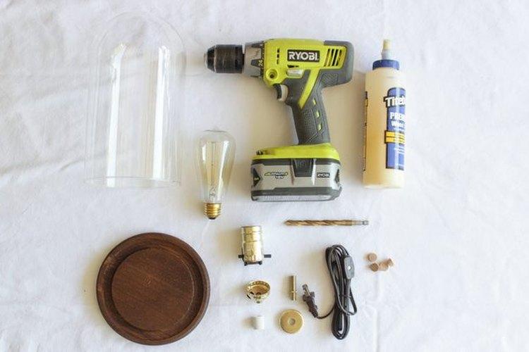 Los materiales que necesitarás para hacer la lámpara industrial.