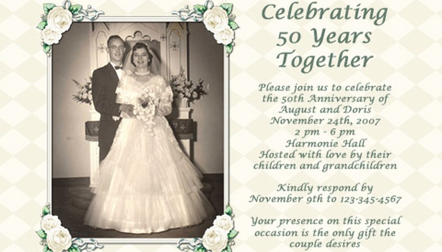 Honour your parents with a thoughtful and exciting 50th anniversary party.