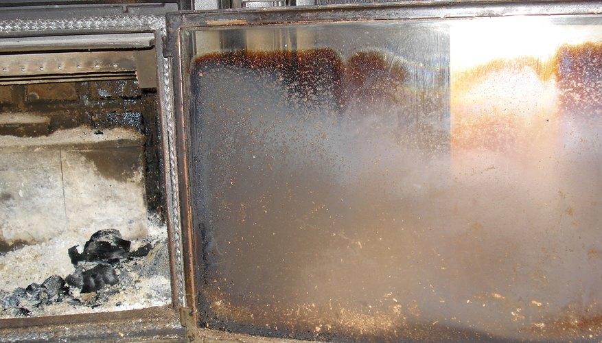 Glass door covered in soot