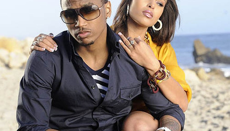 Singer Trey Songz and a music video girl.