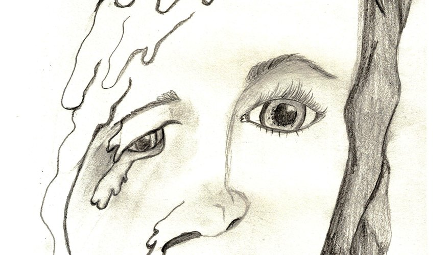 Melted face drawing