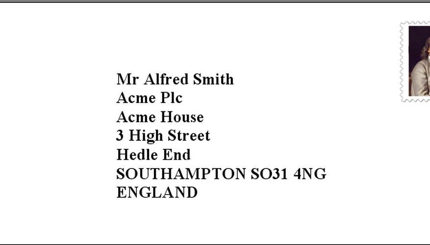Envelope addressed to England