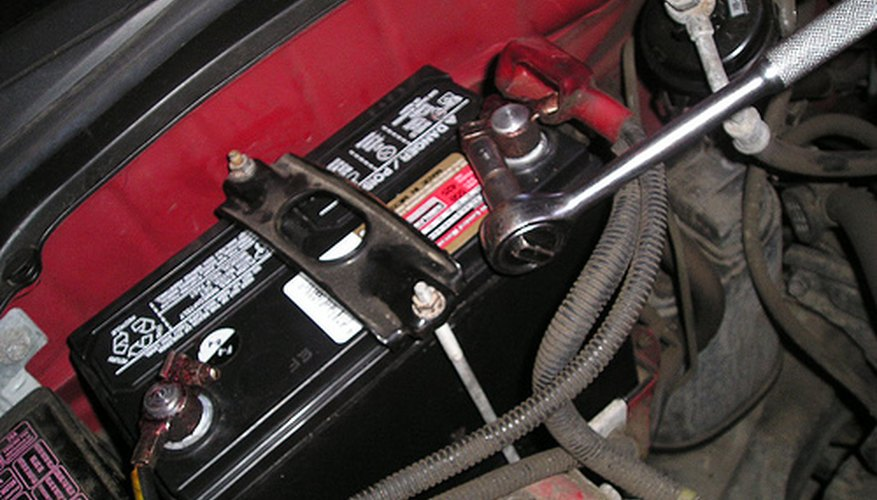 Disconnecting a car battery.