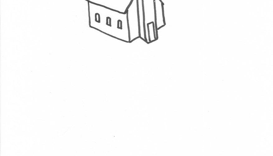 Make sa white church model from styrofoam.
